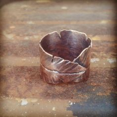 Copper Feather Ring  Copper Leaf Ring  Wide by JanuaryJewelryShop, $40.00