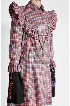 Bedrucktes Kleid aus Baumwolle mit Kettendécor | Vetements