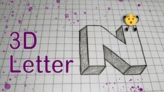 Drawing Letters, 3d Letters, 3d Drawings, Drawing Sketches, Letter N, Illusions, Words, Patterns, Youtube