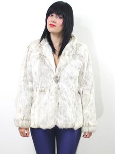 $275 way too expensive and it's real fur, but this shape is nice. Vtg 70s ARCTIC RABBIT Genuine Fur HIPPIE Boho MOD Soft Fitted JACKET COAT XS S M