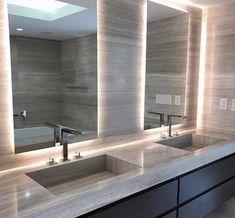Best Bathroom Lighting, Contemporary Bathroom Lighting, Bathroom Mirror Lights, Led Mirror, Modern Bathroom Light Fixtures, Bathroom Modern, Modern Lighting, Best Bathroom Vanities, Bathroom Spa
