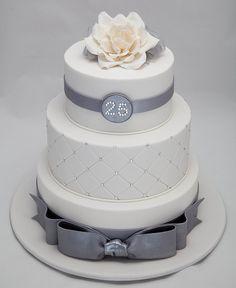 25th wedding anniversary cake, love the diamond embossing!!!