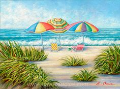 Beach Umbrellas in the sand on a sunny day at the by davinstudios, $24.50