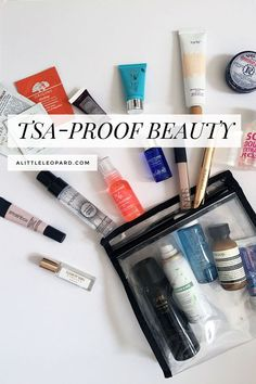 Take a peek inside my carry-on and learn how to pack liquid toiletries for maximum in-flight beauty and minimum (read: no) TSA issues.