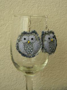 Blue Denim Owl earrings