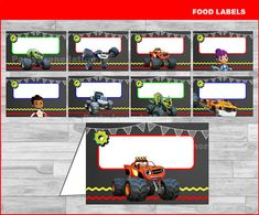 Blaze and the Monster Machines food labels by partyirenelatimore