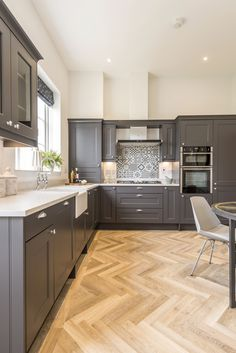 Howdens slate grey kitchen in our Poundbury Show Home Grey Kitchen Diner, Grey Kitchen Interior, Slate Kitchen, Grey Kitchen Floor, Open Plan Kitchen Dining Living, Modern Grey Kitchen, Open Plan Kitchen Diner, Grey Kitchen Designs, Kitchen Room Design