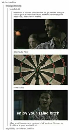 did save her life. liek, every girl he's bedded up with has either died, or gotten killedhe did save her life. liek, every girl he's bedded up with has either died, or gotten killed Supernatural Destiel, Castiel, Jared Padalecki, Jensen Ackles, Dc Memes, Comic, Sam Winchester, Humor, Superwholock