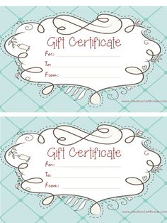 Free printable pink gift certificate with a brown drawing pinteres light blue gift certificate template with a cute design yadclub Image collections