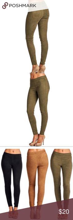 Sneak peek olive green faux suede leggings. New without tags. Sneak Peek Pants Leggings