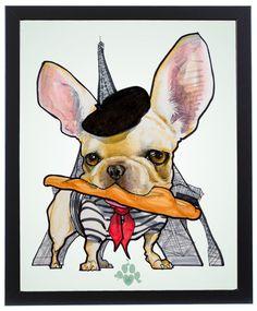 French Bulldog Caricature Art Print – JohnLaFree.com #frenchbulldog #frenchie #johnlafree