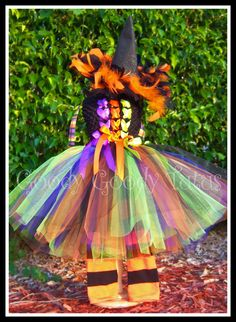 A LITTLE WITCHY Crocheted Tutu Dress with Feathered Witch Hat and Leg Warmers - Medium 2/3T. via Etsy.