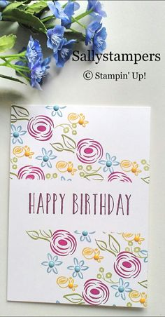 Perennial Birthday Wishes. Simple masking and stamping. Independent Stampin' Up!® Demonstrator UK.