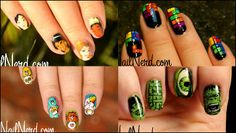"""Nail art """"Nail Nerd"""" for a nerd and movies depicting the game and anime characters"""