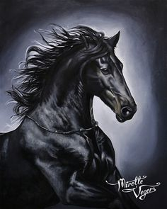 """Magic"" - oilpainting 80x100 cm of a Friesian horse by Mirelle Vegers www.mirellevegers.nl #equine #art #artwork"