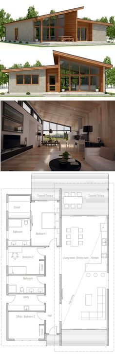New House Plans Modern Small Living Rooms 68 Ideas Best House Plans, Modern House Plans, Modern House Design, House Floor Plans, Small Modern Houses, Bungalows, House Plan With Loft, Loft House, Shipping Container House Plans
