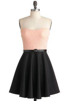 Roof Deck Dining Dress - Short, Black, Pink, White, Solid, Print, Party, A-line, Strapless, Spring, Belted, Vintage Inspired