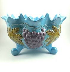 1974 Ceramic Bowl, Footed Fruit Bowl, Handmade, Kitchen Dinning Decor,iridescent…