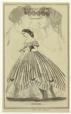 In the Swan's Shadow: Quickies: Fashion Illustrations from the Month of November.  Evening dress, Peterson's Magazine, November 1865.  Yep, this is just a hair out of period.