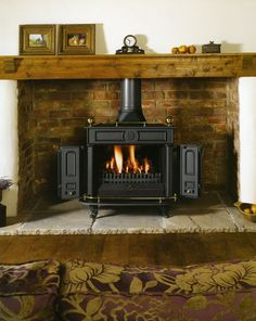 woodburner in stone inglenook style fireplace Wood Stove Surround, Wood Stove Hearth, Stove Fireplace, Wood Burner, Fire Surround, Standing Fireplace, Open Fireplace, Hearth Stone, Brick Hearth
