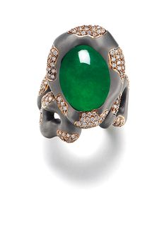 A JADEITE AND DIAMOND RING, BY WALLACE CHAN