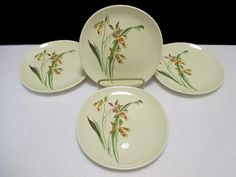 Crooksville Sun Lure Tiger Lily Floral Pattern CRO325 - Set of 4 Bread and…