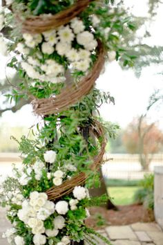 Mobile Wedding by Leslee Mitchell Garden Inspiration, Wedding Inspiration, Wedding Ideas, Wedding Stuff, Grapevine Garland, Flower Garlands, Nature Decor, Wedding Catering, Ceremony Decorations