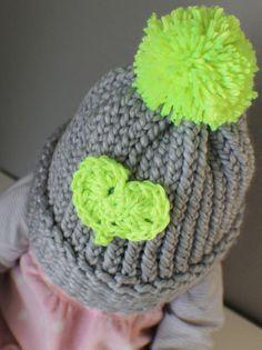Childrens Knitted Heart Hat, gray hat, neon green, handmade, Valentines gift