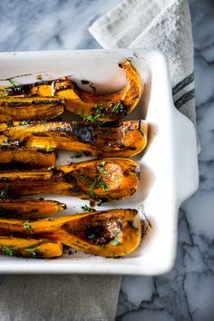 Savory roasted butternut squash with black garlic and miso paste...a delicious and easy fall side dish, this recipe is vegan and healthy! | www.feastingathome.com