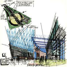 Helmut Jahn process progress drawings   https://www.facebook.com/Arquiclick