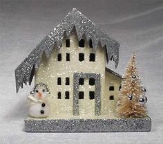 Vintage Inspired Putz Style Cardboard House with Bottle Brush Tree and Snowman