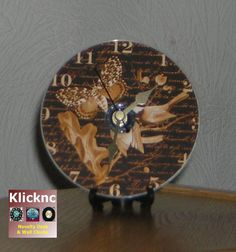 Golden Brown 12cm Desk, Shelf and Wall Clock