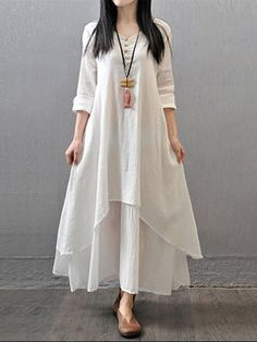 Grande taille-Women Indian White Cotton Kurti Tunique kurta chemise robe ecurve 16D