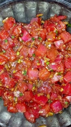 Maui Ahi Poke Make your own delicious ahi tuna poke bowl at home. This recipe is… Maui Ahi Poke Make your own delicious ahi tuna poke bowl at home. This recipe is loaded with healthy brown rice, salad, vegetables and topped with marinated tuna poke. Seafood Dishes, Seafood Recipes, Cooking Recipes, Hawaii Food Recipes, Cooking Tips, Easy Delicious Recipes, Yummy Food, Healthy Recipes, Raw Fish Recipes