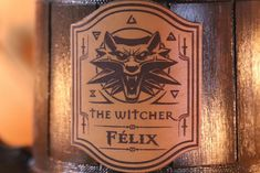 Witcher Mug Geralt Medallion Personalized Gift Witcher Gamer One Year Anniversary Gifts, Boyfriend Anniversary Gifts, Boyfriend Gifts, Custom Beer Labels, Wooden Beer Mug, Leather Label, Gamer Gifts, The Witcher, Personalized Gifts