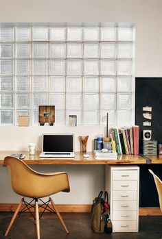 Love the desk and little drawers in this organized office.