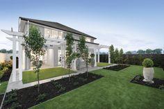 Simple & elegant landscaping for our Waldorf 44 home on display at Albright, Truganina Porter Davis, 4 Bedroom House Plans, Hamptons House, New Home Designs, Open Plan Living, Backyard Landscaping, Landscape Design, New Homes, Floor Plans