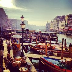 waterfront at Rialto Bridge in #venice
