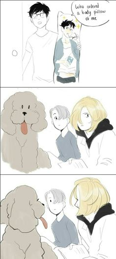 BWHAHAHAH YURIO AND THE DOG ARE JUST STARING AT VICTOR