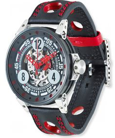 B.R.M. Watches V6-44 Sport Red Hands #bezel-fixed #bracelet-strap-leather…