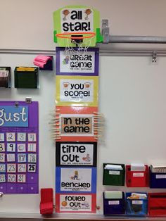 Behavior Clip Chart---like the basketball hoop idea something interactive (celebratory act) which can be done when achieving that top level on the behavior chart