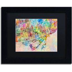 Trademark Fine Art Toronto Street Map Canvas Art by Michael Tompsett Black Matte, Black Frame, Size: 11 x 14, Multicolor