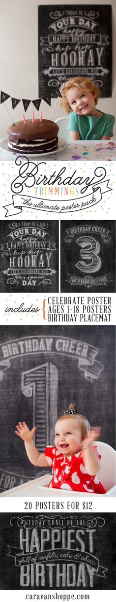 These prints are a MUST for Aubrielle's b-day this week! $12 Birthday Trimmings Poster Pack at caravanshoppe.com
