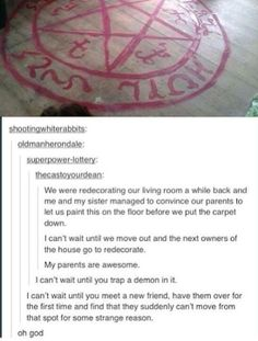 The Supernatural fandom redecorates. My Tumblr, Tumblr Posts, Tumblr Funny, Funny Memes, Funny Tumblr Stories, It's Funny, Funny Pics, Geeks, Sherlock