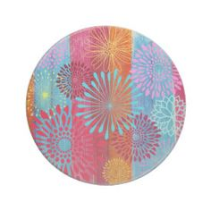 Pretty Bold Colorful Flower Bursts on Wide Stripes Beverage Coaster