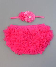 Hot Pink Flower Headband & Ruffle Diaper Cover - Infant #zulily #zulilyfinds