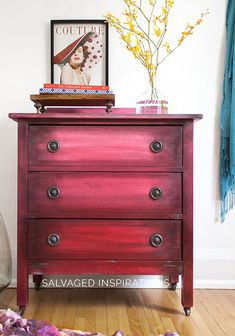 I'm excited to share this easy ombré paint effect I used on this salvaged dresser. This was my first time painting an ombré piece and I put a little boho twist on it. It was a fun process mixing the paint, spraying and blending - and I have to admit, I'm always thrilled when a new technique turns out like I hoped it would. I hope this inspires you to give this shading technique a try!
