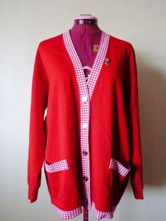 vintage Cathy Daniels Red Vline knit sweater cardigan by june22nd, $24.75