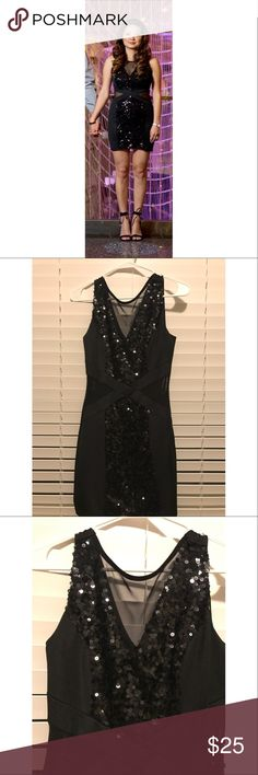Forever 21 Black Sequin Dress - XS Sexy sequin dress for a girls night out! I wore this dress for my engagement pictures in Vegas. Dress is in great condition, it was dry cleaned after. Dress size is XS, but it is stretchy so a small can fit as well. I'm a small/medium and the dress fit well on me. Forever 21 Dresses
