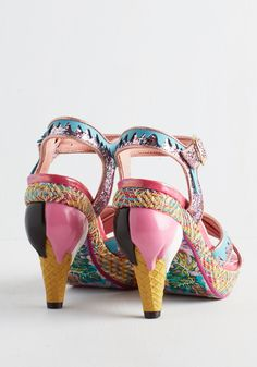 Flavor of Luxe Heel. Your favorite fashion flaves are all together in these bold blue and pink heels by Irregular Choice. #pink #modcloth
